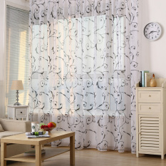Discount Mega Tulle Door Window Floral Voile Curtain Black Export China