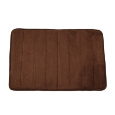 Memory Foam Bath Mats Bathroom Horizontal Stripes Rug Non-Slip Brown By Crystalawaking.