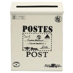 Metal Tin Locking Waterproof Post Card Mailbox Vintage Wall Hanging Mail Box New creamy-white - intl