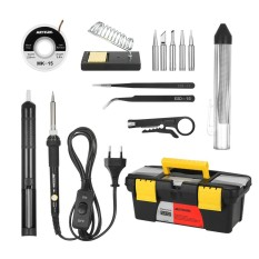 Meterk 14 In 1 Soldering Iron Kit 60W Adjustable Temperature Welding Soldering Iron With On Off Switch 5Pcs Soldering Tips Solder Sucker Desoldering Wick Solder Wire Anti Static Tweezers Iron Stand With Cleaning Sponge Tool Box Intl On China