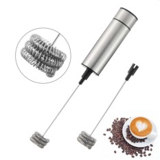 Milk Frother Handheld Double Spring Whisk Head Powerful Electric Milk Frother With Additional Single Spring Whisk Head (silver 2) - Intl By Yw Store.