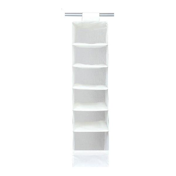 mingjue Natural Nylon Oxford 6 Compartment Soft Storage Hanging Accessory Shelves, White