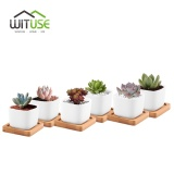 Review Mini Square Ceramic Flower Pots Succulent Planters With Bamboo Tray Home Decor Modern Decorative Small White Plant Pot Intl On China