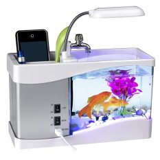 Best Price Mini Usb Desktop Aquarium Fish Tank Lcd Lamp Light Led Clock With Alarm Clock Calendar Time Date Temperature For Office Homes Best Cny Gift Intl