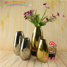 Minimalist Modern Ellipse Flat Bottles Electroplated Gold Silver Ceramic Flower Vase of Flowers Flower Container Grow in Water Christmas Ornament Asian Creative Luxury Art Works