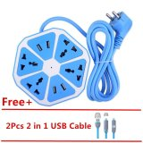 Review Mitps Uk Plug 4 Usb Hexagon Extension Lead Multi Power Strip Sockets 2Pcs Free Usb Cable Blue Intl On China