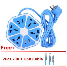 Low Price Mitps Uk Plug 4 Usb Hexagon Extension Lead Multi Power Strip Sockets 2Pcs Free Usb Cable Blue Intl