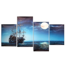 Modern 4pcs Canvas Painting Sea Ship Print Picture Home Wall Art Decor No Frame - Intl By Threegold.