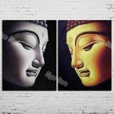 2 Pieces Hand Painted Figures Oil Painting Buddha Face Painting Modern Home Wall Art Decoration
