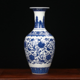 Retail Price Modern Ceramic Porcelain Old Style Blue And White Flower Arrangement Bottle