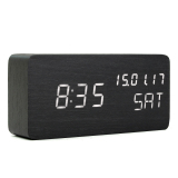 Modern Cube Wooden Wood Digital Led Desk Voice Control Alarm Clock Thermometer Led Color White Intl Promo Code