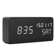 Sale Modern Cube Wooden Wood Digital Led Desk Voice Control Alarm Clock Thermometer Led Color White Intl