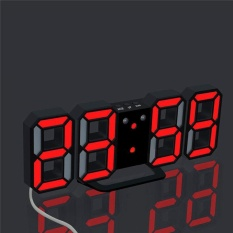 Cheap Modern Digital Led Table Desk Night Wall Clock Alarm Watch 24 Or 12 Hour Display 4 Led Colors Choice Red Intl