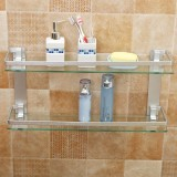 Where Can You Buy Modern Glass Bathroom Bath Shower Rectangle Shelf Organizer Holder Double Layer 50Cm Intl