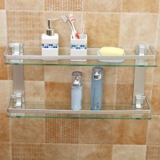 Latest Modern Glass Bathroom Bath Shower Rectangle Shelf Organizer Holder Double Layer 50Cm Intl