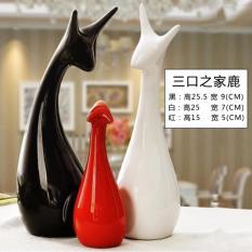 RC-Global Deer Families of 3 - Modern Handicrafts CNY Home Decor Gift for Xmas Wedding House warming New Year ( 3 口鹿之家 - 现代感手工艺品圣诞结婚搬家礼品)3 pcs/set