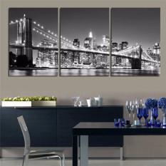 Modern Landscape Canvas Oil Painting Print Black&White New Yorks Brooklyn Bridge 3pcs Wall Art Decor for Living Room Home Decoration Unframed