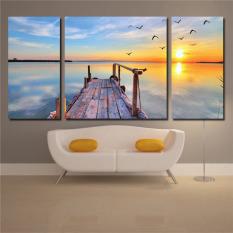 Modern Landscape Canvas Oil Painting Print Sunrise 3pc Wall Art Decor for Living Room Bedroom Decoration Unframed