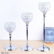 Modern Luxury metal silver plated candle holder with crystals wedding candelabra/centerpiece decoration candlestick - intl