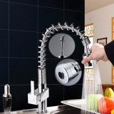 Review Modern Pull Out Spray Kitchen Mixer Tap Sink Chrome Brushed Steel Faucets Intl On China