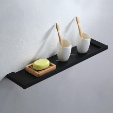 Modern Stainless Steel Solid Black Wall Mounted Bathroom Shower Shelf Storage - Intl By Threegold.