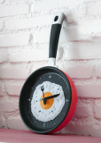 Promo Modern Unique Egg Frying Pan Clock Cutlery Kitchen Wall Clock Decoration Red