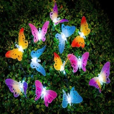Moonar Solar Powered Garden Light Led Butterfly Fiber Optic Fairy String Outdoor Lights
