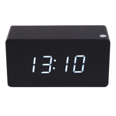 Brand New Morden White Wooden Digital Black Alarm Clock Calendar Thermometer