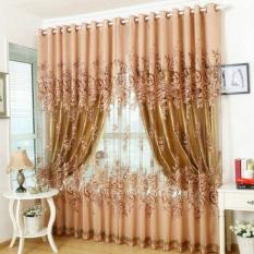 Mordern Home Decor Floral Tulle Window Curtain Drape Valances Tassel - Coffee Pendant
