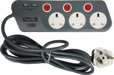 Morries 3M Extension Cord 3W W 2Usb Ports Ms3333 Online