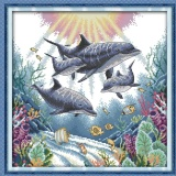 Mstore Diy Pre Printed Fabric Counted Cross Stitch Kit Pre Printed Pattern Needlework 14Ct Dolphin Ocean D632 Intl On China
