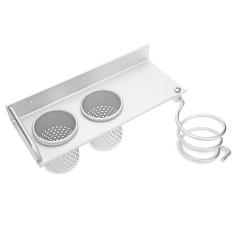 Multi-use Alumimum Hair Dryer Shelf Bathroom Storage Holder Comb Rack Wall Hanger with 2 Cups - intl