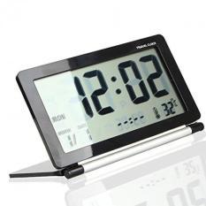 Multifunction LCD Digital Travel Desk Alarm Clock Large Screen Folding Black
