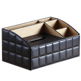 Review Multifunctional Pu Leather Home Office Hotel Tissue Box Case Holder Remote Control Holder Black China