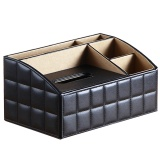 Price Multifunctional Pu Leather Home Office Hotel Tissue Box Case Holder Remote Control Holder Black Intl Oem China