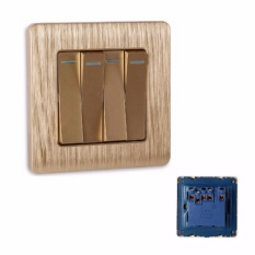 MumoLife Home Switches C60 Classical Art Gold 16A 250V 4 Gang 1 Way Switch - intl Singapore