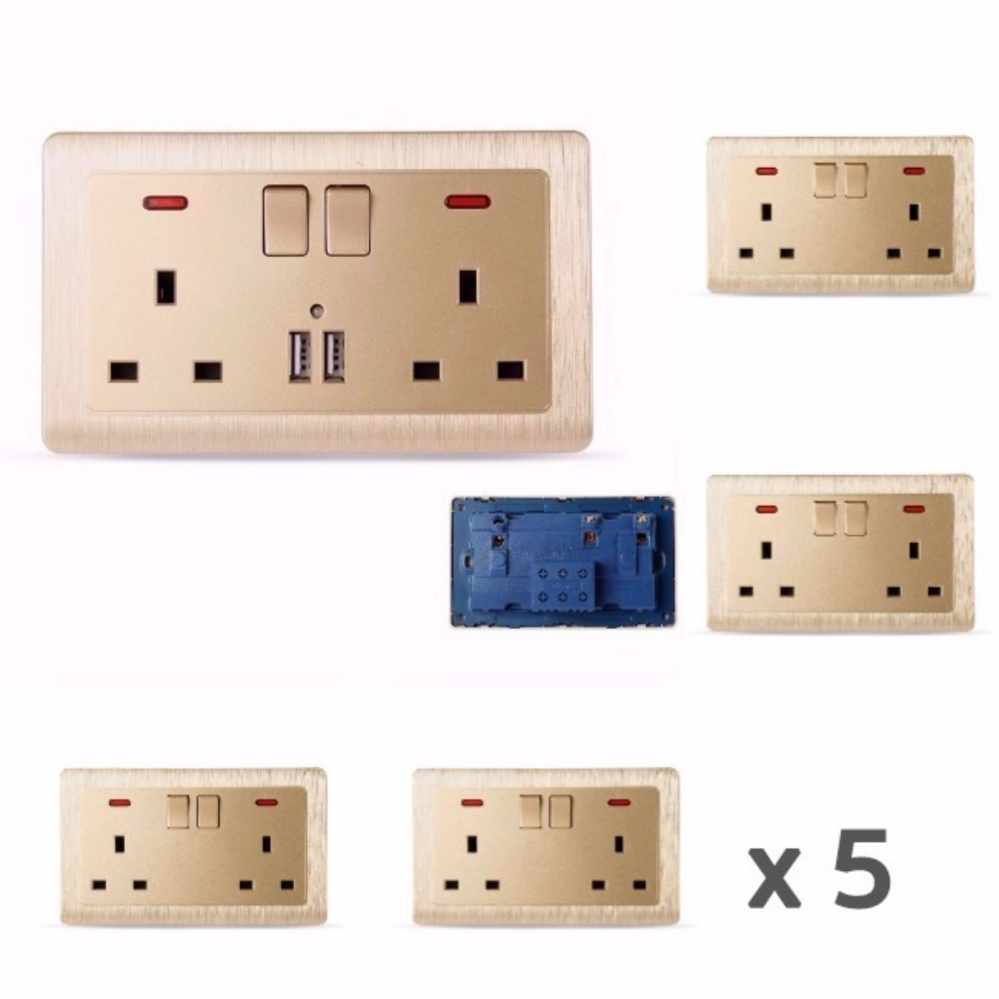 MumoLife Home Switches C60 Classical Art Gold 2 x 13A 250V Switched Socket with neon 5 pcs - intl Singapore