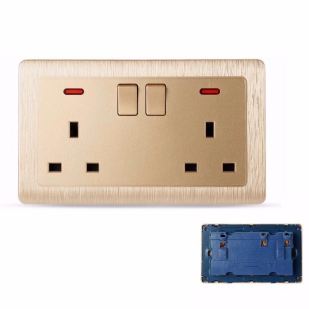 MumoLife Home Switches C60 Classical Art Gold 2 x 13A 250V Switched Socket with neon - intl