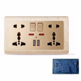 Discount Mumolife Home Switches C60 Classical Art Gold 2 X 5 Pin 13A 250V Mf Switched Socket With Neon 2 Usb Intl