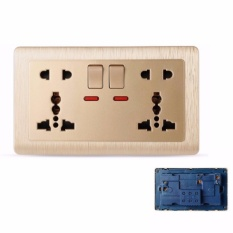 MumoLife Home Switches C60 Classical Art Gold 2 x 5 pin 13A 250V MF Switched Socket with neon - intl