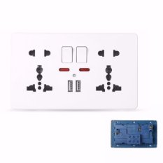 MumoLight Home Switches C82 White 2 x 5 pin 13A 250V MF Switched Socket with neon + 2 USB - intl Singapore