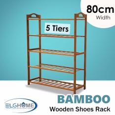 Natural Bamboo General 5 Tiers Shoe Rack 80Cm Width Deal