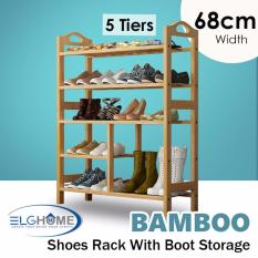 Natural Bamboo Premium 5 Tiers Shoe Rack With Boot Storage 68Cm Width Online
