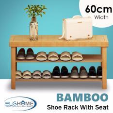 Natural Bamboo Shoe Rack 2 Tiers Foot Stool 60Cm Width Sale