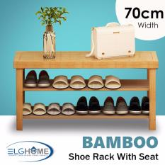 Retail Price Natural Bamboo Shoe Rack 2 Tiers Foot Stool 70Cm Width