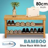 New Natural Bamboo Shoe Rack 2 Tiers Foot Stool 80Cm Width