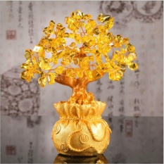 Natural Gemstone Jade Crystal Lucky Fortune Feng shui Tree Fengshui Wealth Tree - Gold Amethyst