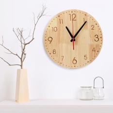 Natural Solid Wood Round Analog Wall Clock Arabic Dial Intl Price