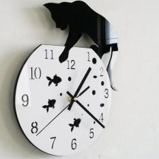 Compare Price Naughty Cat Acrylic Clock Wall Clock Modern Design Home Decor Watch Wall Sticker Intl On China