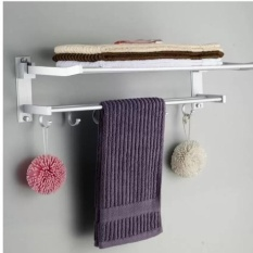 Retail New Aluminium Bath Towel Rack Double Folded Towel Rack Space Activities With Rod Bathroom Toilet Shelf Widgets Intl